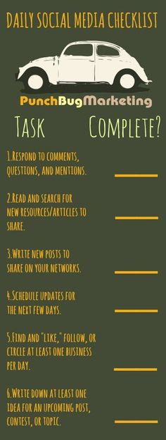SOCIAL MEDIA - Daily-Social-Media-Checklist #SMM #socialmedia.