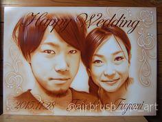 welcome bord!! Happy Wedding✨  #wedding#happy#illust#happywedding#airbrush#airbrushart#airbrushpaint#portrait#エアブラシ#エアーブラシ#スプレーアート#似顔絵#ウェルカムボード#結婚式#セピア#irieart#アイリーアート#千葉