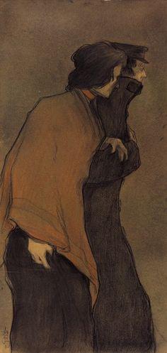 Xavier Gosé - Lápiz graso y pastel sobre cartulina marrón
