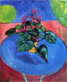 "Henri Matisse (French, Fauvism, 1869-1954): Cyclamen Pourpre, 1911-1912. Oil on canvas, 73 x 60 cm. Private Collection. © This artwork may be protected by copyright. It is posted on the site in accordance with fair use principles.  ""I do not literally paint that table, but the emotion it produces upon me."" (Henri Matis1238909_556116414442877_1196911842_n.jpg (788×960)"
