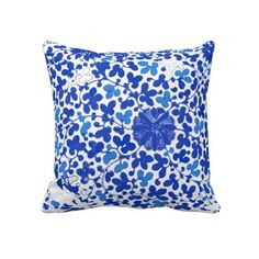 Blue and White Chinoiserie Porcelain Floral Pillow by thepinkpagoda