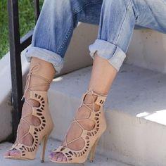 Lace up stilettos + boyfriend jeans.