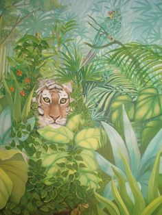 Except without the creepy lion staring at you. Painting Wallpaper, Fabric Painting, Mural Art, Wall Murals, Kids Room Murals, Acrylic Painting Flowers, Forest Painting, Detail Art, Art Club