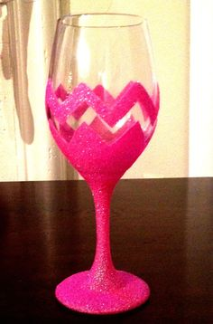 Hand Painted Glitter Wine Glass 1 Glass by HappyHippoHomeDecor, $12.00
