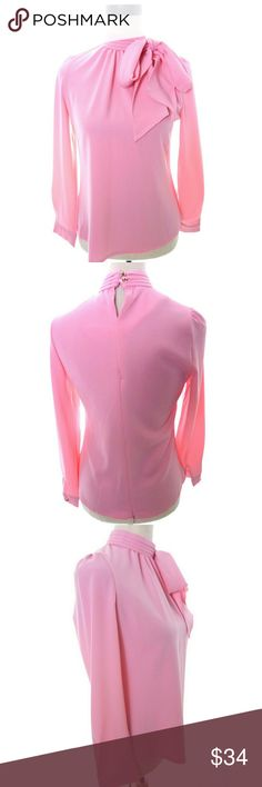 """Chicwish Pink Kitten Bow Blouse Medium Small Kiss Me Bow Top in Candy Pink by Chicwish No size tag but I believe this to be their S/M  Armpit to armpit is 18"""" across when flat shoulder to hem is 24"""" Self tie bow at side neck back zipper nice used condition  wt3296 Chicwish Tops Blouses"""