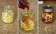 "Winter sore throat ""tea""- In a jar combine lemon slices, organic honey and sliced ginger. Close jar and put it in the fridge, it will form into a ""jelly"". To serve- spoon jelly into mug and pour boiling water over it. Store in fridge months. Home remedies Herbal Remedies, Health Remedies, Home Remedies, Natural Remedies, Flu Remedies, Anxiety Remedies, Natural Treatments, Sore Throat Tea, Healthy Recipes"