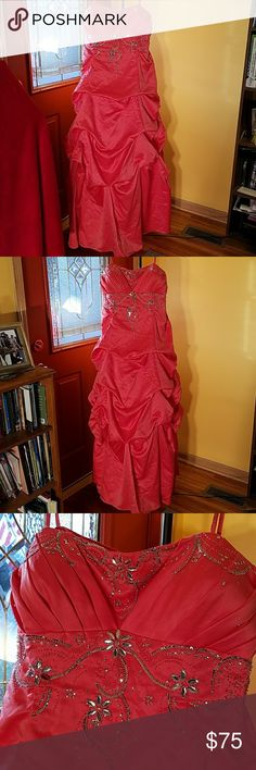 Strapless floor length evening gown Coral with embellished front Dresses Prom