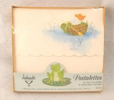 Swimming Turtle Vintage Postalettes 24 Fold-up Letters with Stickers Ambassador #Ambassador