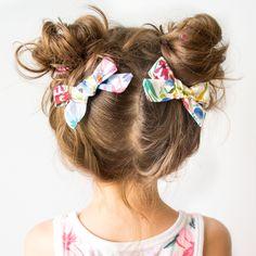 Floral pigtail bows