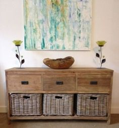 Reclaimed Teak Storage Unit / Storage Chest with 3 Drawers plus 3 Kubu Grey Natural Wicker Baskets