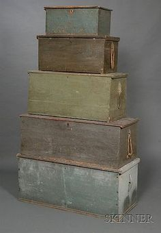 Five Green and Blue-painted Wooden Sea Chests and Storage Chests, dovetail and six-board construction, some canted. Pine Chests, Painted Chest, Boat Building, Wood Boxes, Storage Chest, Woodworking Projects, Farmhouse Decor, Sailor, Nautical