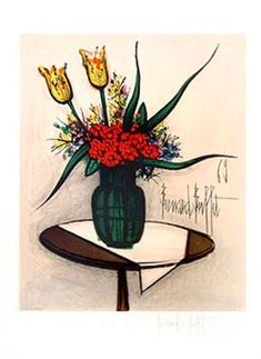 Buffet Bernard : Lithographie : Bouquet de fleurs Art Original, French Artists, Gravure, Art Paintings, Les Oeuvres, Painters, Printmaking, Art Boards, Folk Art