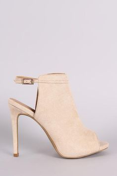 Anne Michelle Suede Peep Toe Mule Booties $63.00
