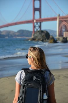 Golden Gate Bridge in San Francisco with the Elevate Black backpack from BirkSun