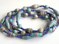 Paper Bead Jewelry - Long Necklace - #1107B by BeadAmigas on Etsy https://www.etsy.com/listing/172555018/paper-bead-jewelry-long-necklace-1107b