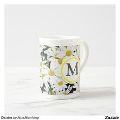 Personalized Daisies Bone China  Tea Cup