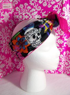 Day of the Dead  Headband  Sugar Skull  Hot pink  by handmadeink, $13.00