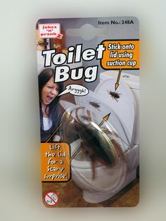 "TOILET BUG.... One of the ""BEST"" toilet pranks ever! Stick the bug onto the lid using the suction cup and wait till someone lifts the lid to go.... LOL! theonestopfunshop.com<<<I need this!!!!!!"