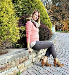 peach-sweater-grey-pants-leopard-booties-infinity-scarf-1