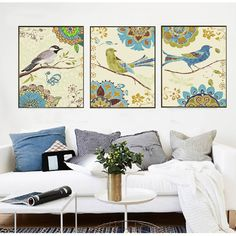 Hand painted flower bird canvas painting coloring by numbers triptych pictures by numbers wall pictures for living room RS190 #Affiliate