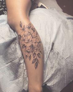 Flower Leg Tattoos, Back Of Leg Tattoos, Girl Leg Tattoos, Leg Tattoos Women, Foot Tattoos, Body Art Tattoos, Small Tattoos, Calf Tattoos For Women Back Of, Calf Tattoo Women