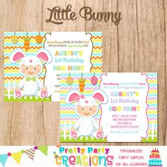 LITTLE BUNNY Girl or Boy easter egg hunt / by PrettyPartyCreations, $11.50