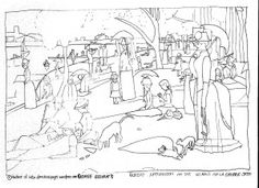 Georges seurat sunday afternoon on the island of la for Seurat coloring pages