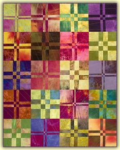 You don't have to love to cook to enjoy slicing and dicing! This quilt is great for using up some of your batik stash for high-contrast blocks. After you decide how you want them laid out, there is no pattern matching so piecing is easy. This quilt is offered in four sizes made with 4-patch blocks.