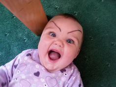 Drawing eyebrows on babies - make sure to look at all of these. Laughed so hard!