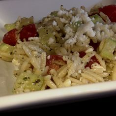 greek orzo pasta salad - made with wildtree opa! greek seasoning, tomatoes & cucumber! delicious!!