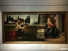 Leonardo da Vinci, Annunciation (c. 1475), Ufizzi Gallery, Florence, Italy