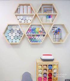 DIY Hexagon Shelves for Craft Storage - DIY Hexagon Shelf for Craft Storage- finished straight on - Paint Storage, Craft Room Storage, Craft Organization, Organizing Ideas, Organizing Life, Wall Storage, Storage Ideas, Diy Organizer, Craft Shelves