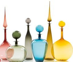 colorful glass decanters