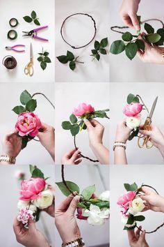 How to make a flower crown // flower crown bar // bridal shower