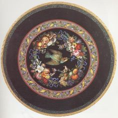 FOUR SEASONS MICRO MOSAIC TABLE  Micromosaic, Rome, 1839  Signed Camillo Poggioli  (Diameter of Tabletop: 31 in ; 78.7 cm)  A mosaic tabletop whose theme is the Four Seasons, with flowers and fruit representing Spring, Summer, Fall and Winter.