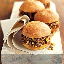 Weight Watches southwestern sloppy joes. 8 points per serving. These turned out great too. I added a can of tomato sauce at the step where you add the ground turkey and corn.