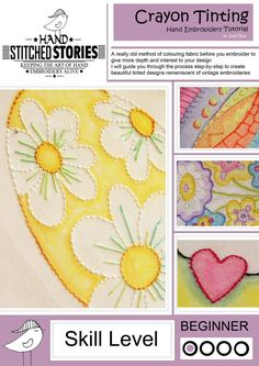 Crayon Tinting For Embroidery Tutorial E Book