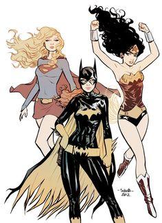 mtakara:    commission - Supergirl Batgirl WonderWoman - color by *marciotakara    for commission, ema