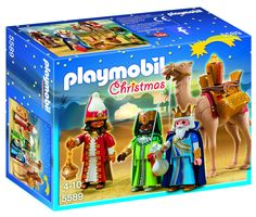 PLAYMOBIL PLAYMOBIL Three Wise Kings Set. Create a festive holiday scene with the Three Wise Kings. Play with this set on its own or combine with the Nativity Stable with Manger (#5588) for added fun. Set includes three figures, one camel, saddle, gold coins, treasure chest, and other accessories. Encourages children to explore and learn while having fun. Figures can bend, sit, stand and turn their heads.