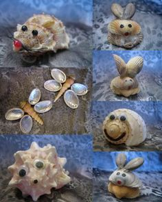Little animals made from shells. Sea Crafts, Rock Crafts, Easy Diy Crafts, Arts And Crafts, Seashell Ornaments, Seashell Art, Seashell Crafts, Seashell Projects, Driftwood Crafts