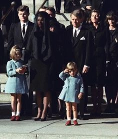 25 November Three-year-old John F Kennedy Jr salutes his father's coffin in Washington. Widow Jacqueline and daughter Caroline are accompanied by the late president's brothers Edward and Robert Jacqueline Kennedy Onassis, John F Kennedy, Les Kennedy, Jaqueline Kennedy, Caroline Kennedy, Jfk Jr, Time Magazine, Jfk Funeral, Die Kennedys