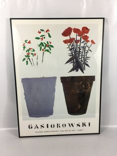 Up for sale is this incredible Gerald Gasiorowski Pots De Fleurs framed poster from Galerie Adrien Maeght, dated 1988. The Maeght gallery is world renowned for documenting and editing fine works. It has long published fine art prints and posters. This poster is in the original frame and is in fine condition. It measures 29 1/4 tall and 21 1/4 wide. Please contact me with any questions