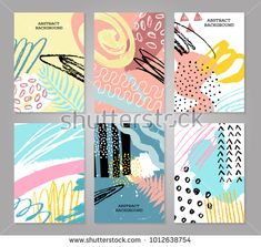 Abstract colorful backgronds set. Hand drawn templates for card, flyer and invitation design. Vector illustration.