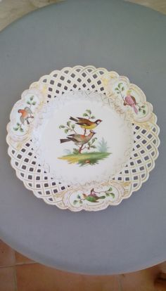 19th century Meissen reticulated, latticework plate, hand painted exotic birds design. Cancellation marked. by FrenchVintageMaison on Etsy