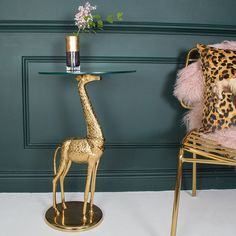 A stunning giraffe glass top occasional table. Perfect for your cuppa or vase, this stunning vase will add something a little different to your décor. Plywood Furniture, Amish Furniture, Unique Furniture, Giraffe Room, Giraffe Decor, Deco Originale, Playroom Decor, Decoration Table, House Decorations