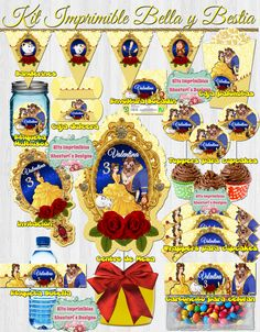 Kit Imprimible Bella y Bestia editable DIY toppers wrappers Beauty And The Beast Cake Birthdays, Beauty And Beast Birthday, Beauty And The Beast Party, Princess Birthday, Princess Party, 9th Birthday, Birthday Ideas, Birthday Cake, Banner