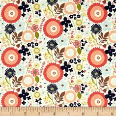 Riley Blake Woodland Spring Floral Navy from @fabricdotcom  From Designs by Dani for Riley Blake, this cotton print fabric is perfect for quilting, apparel and home decor accents. Colors include cream, coral, peach, blue, brown, green and navy.