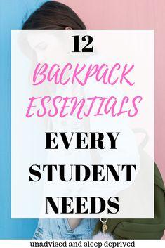 12 Backpack Essentials Every Student Needs – Dorm Room College Binder, College Freshman Tips, College Life Hacks, College School Supplies, College Football, College Wrestling, College Schedule, College Essay, Freshman Year
