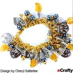 DIY Mixed Metals Charm Bracelet in Gold, Grey & Silver Recipe from eCrafty.com Supplies list (with product links) wp.me/p1zpgR-Si Cheryl started with our completely assembled gold chain maille charm bracelet base (in gold) and then added lots of dangles. #ecrafty #chainmaille #diycharmbracelets #mixedmetals #diycrafts #diybeading #jewerlysupplies Design by Cheryl Satterlee