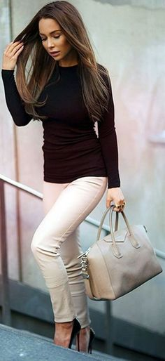 Beige Leather Trousers With Black Top